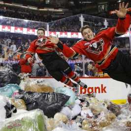 Hockey teams rally their fans up for Teddy Bear Toss events this weekend