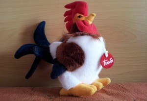 A rooster made by one of popular stuffed toy manufacturers Trudi