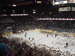 Watch 7300 teddy bears rain down during a hockey game