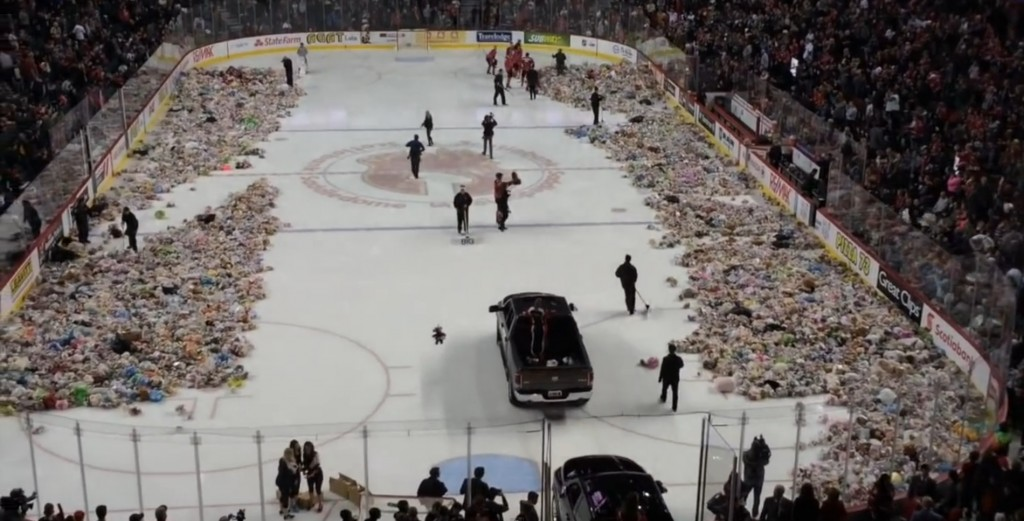 Thousands of stuffed animals take the ice at Teddy Bear Toss hockey games