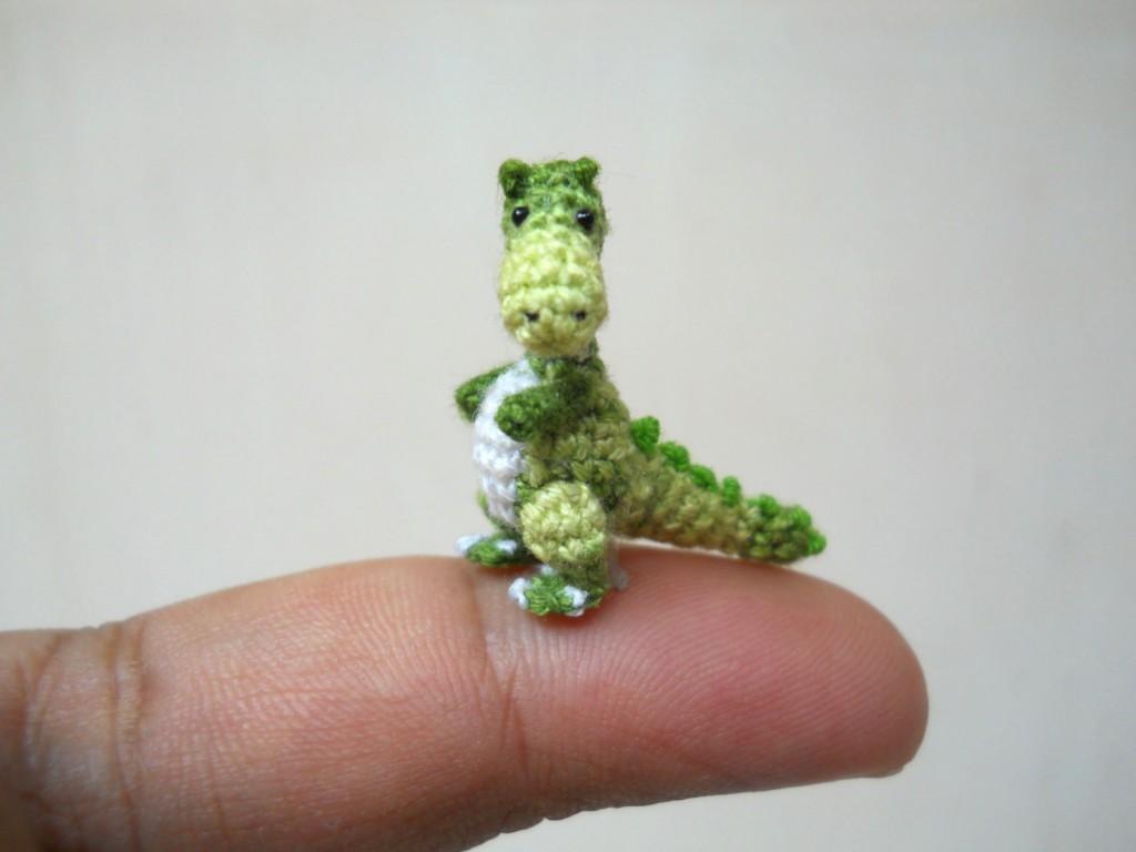 Miniature Green Tyrannosaurus - Dollhouse Miniature Dinosaurs