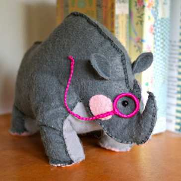 How to make a stuffed Rhino Bookend