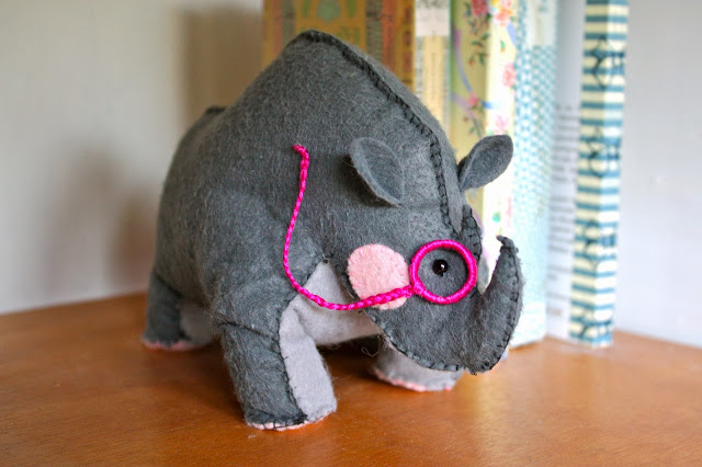 How to make a stuffed Rhino Bookend