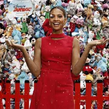 Alesha Dixon unveiled the world's biggest Disney Junior Christmas Tree from stuffed animals