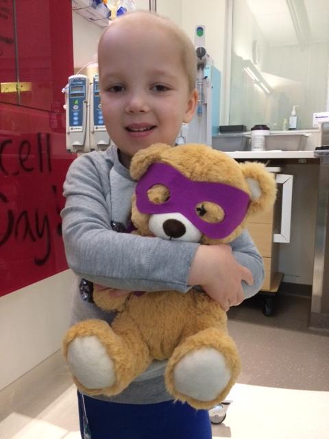 A teddy bear helps kids in their battles against cancer