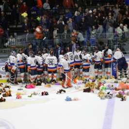 The first tickets for a Teddy Bear Toss hockey game are now on sale