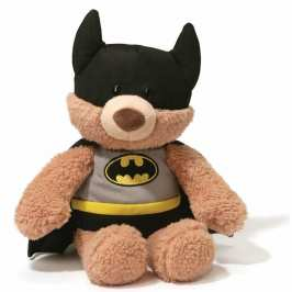 Five cute stuffed animals dressed as superheroes