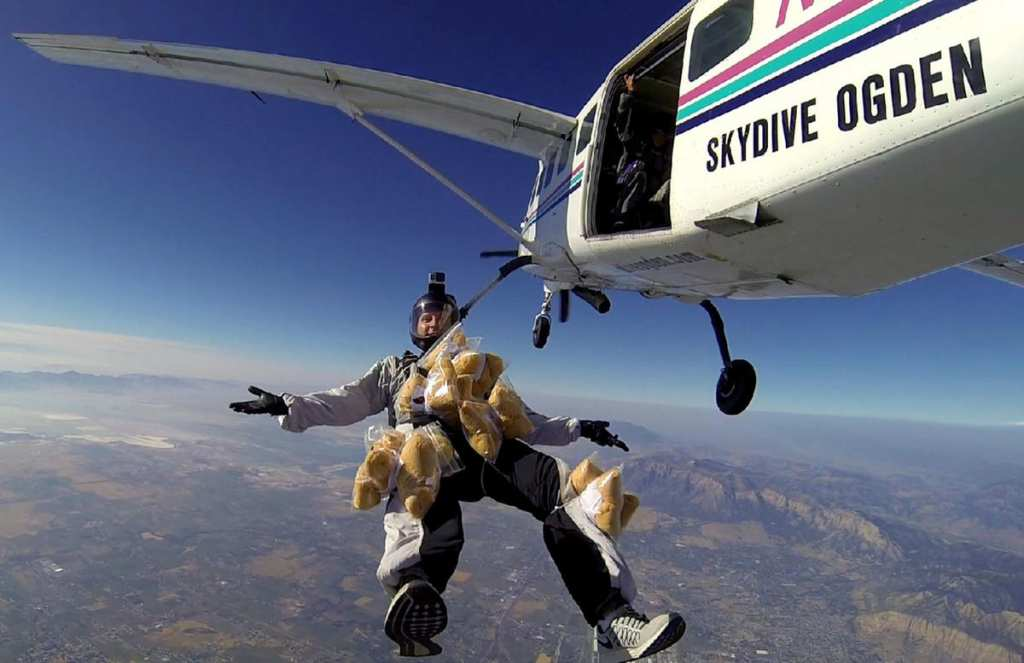 The bravest teddy bears in the world jumped from a plane to get to sick kids