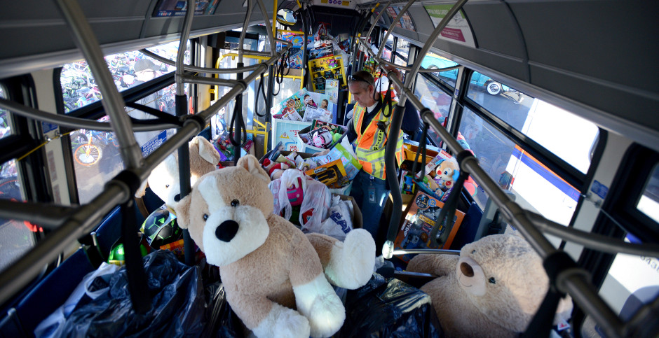 The 2017 Anaheim Stuff-A-Bus drive filled 21 buses with toys