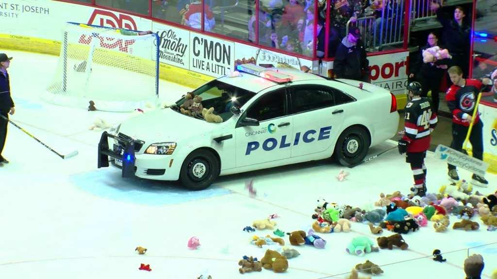 The Cincinnati Cyclones gathered more than 4000 stuffed animals in their teddy bear toss