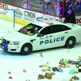The Cincinnati Cyclones gathered more than 4000 stuffed animals in their teddy bear toss