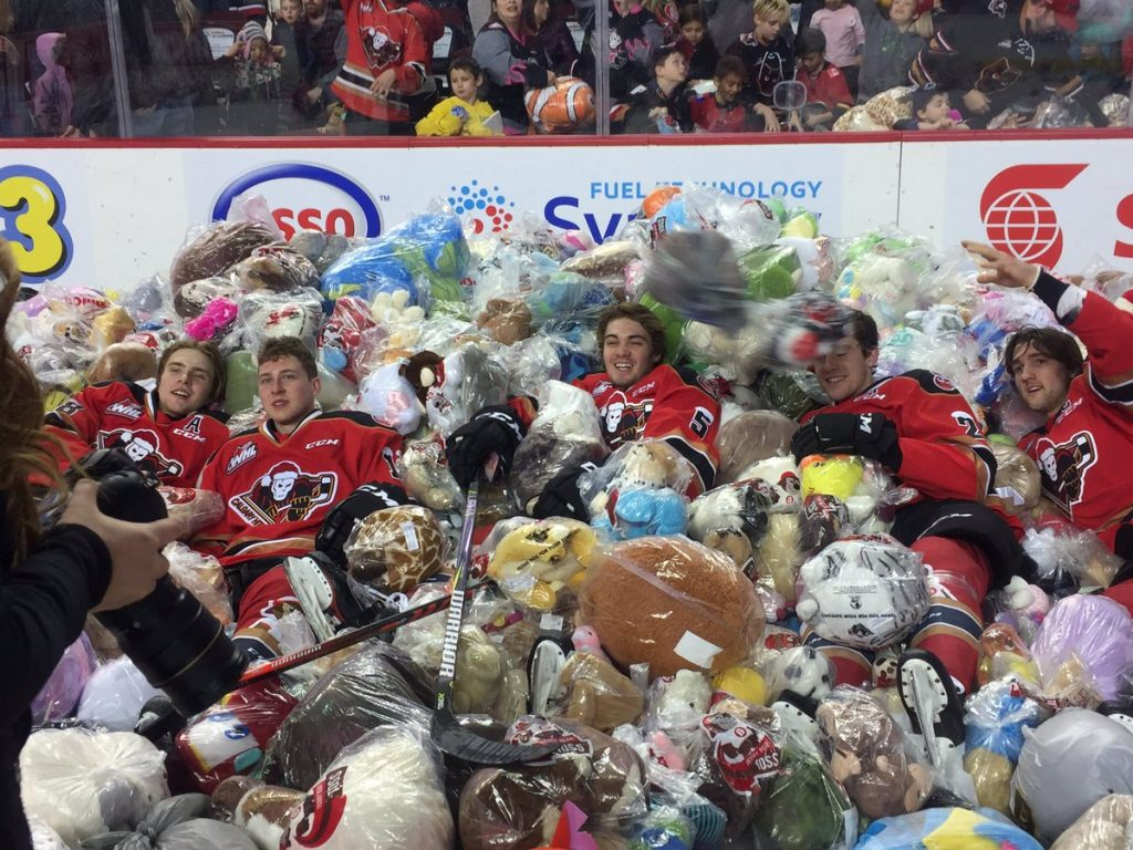 The Calgary Hitmen set the day for their 25th Teddy Bear Toss