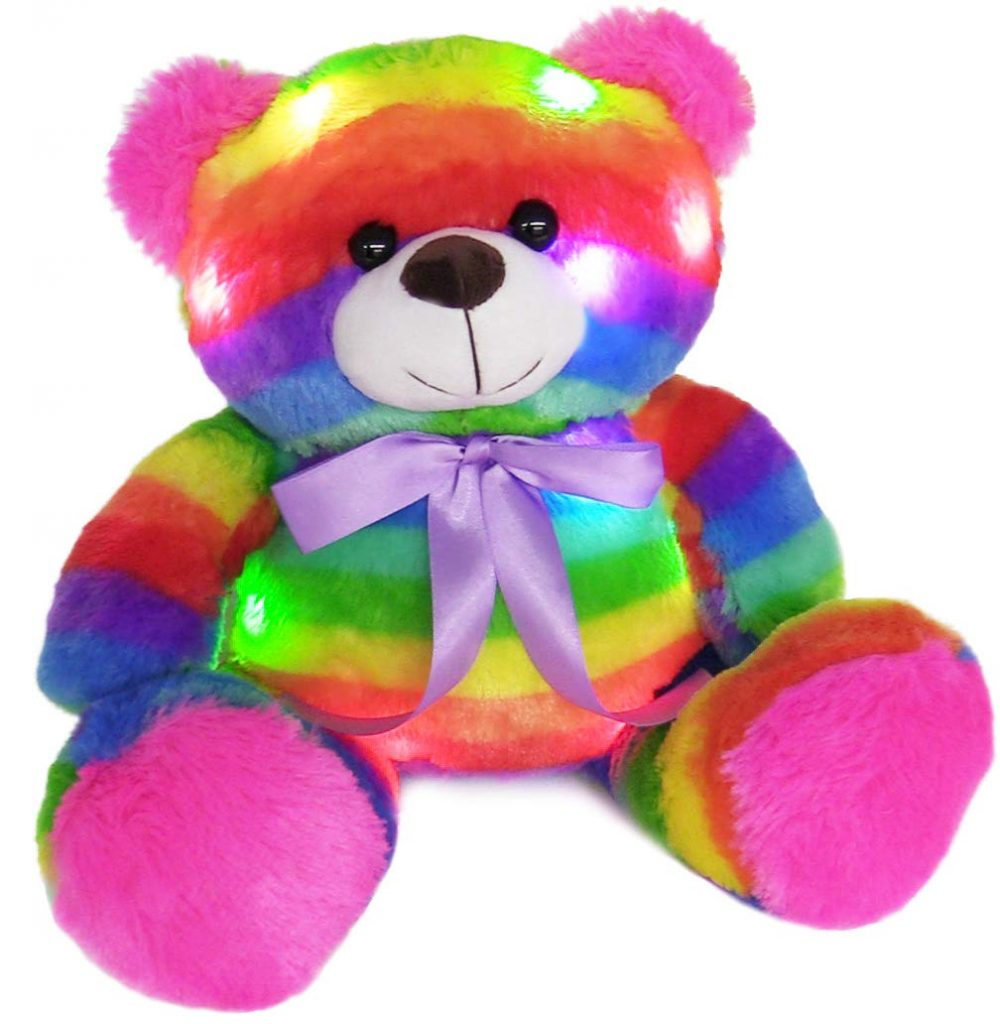 The Noodley Rainbow Light Up Teddy Bear helps kids sleep better