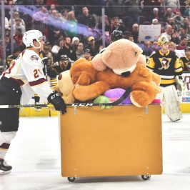 The Cleveland Monsters net more than 8600 stuffed animals during their Teddy Bear Toss