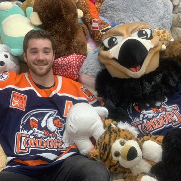 The Bakersfield Condors collect 8380 stuffed animals for their Teddy Bear Toss